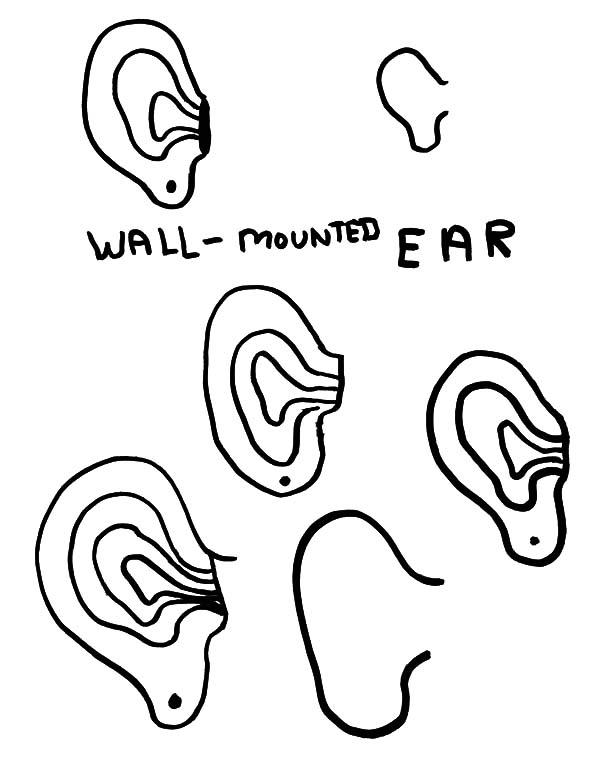 Ear, : Wall Mounted Ear Coloring Pages
