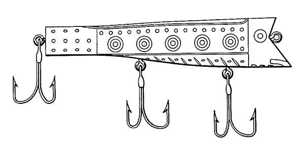 Fishing Lures, : Weird Design Fishing Lures Coloring Pages