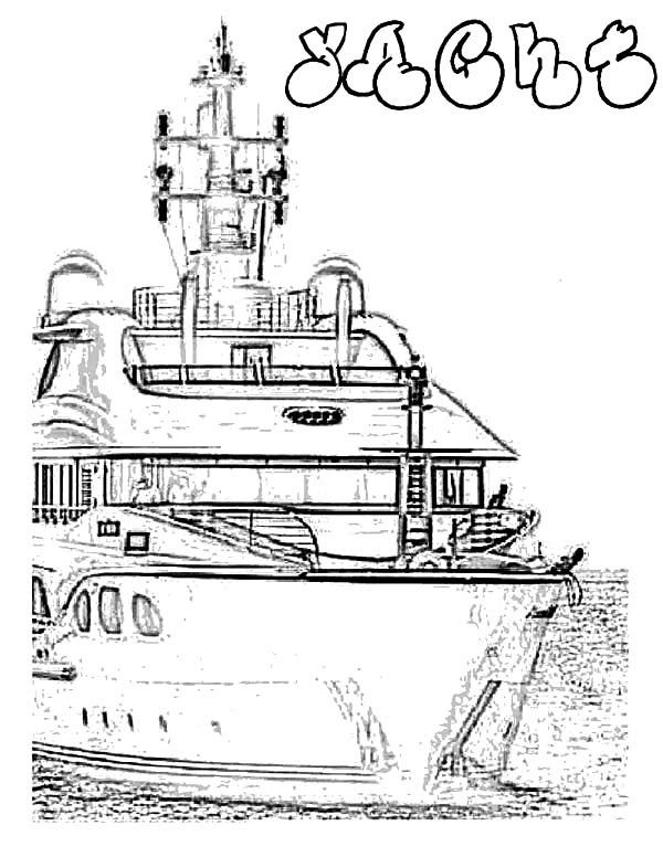 Fishing Boat, : Yacht Fishing Boat Coloring Pages